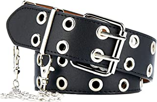 Womens Belts for Jeans Studded Double-Grommets with Chains Leather Black Belt