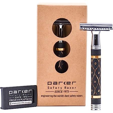 Parker 65R Super Heavyweight Double Edge Safety Razor & 5 Premium Blades