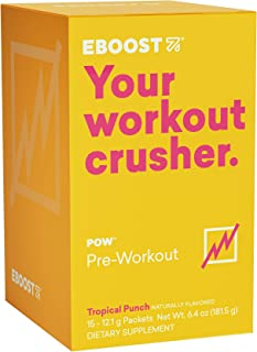 EBOOST POW Natural Pre-Workout Powder – 15 Packets - Tropical Punch - A Pre Workout Supplement for Performance, Joint Mobi...