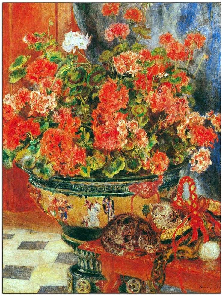ArtPlaza Renoir Pierre-Auguste Spring new work one after another - New products, world's highest quality popular! Geraniums cats Decorative P and