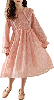 amropi Girl's Princess Dress Lace Flower Embroidery Long Sleeve Casual Dresses for 3-12 Years