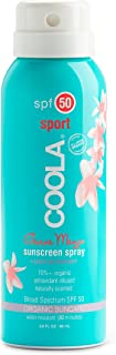 COOLA Organic Sunscreen Body Spray, SPF 50, Certified Organic Ingredients, Farm to Face, Ultra Sheer, Continuous Spray, Water Resistant