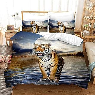 Funda Nórdica Modelo Animal del Tigre 3D Colcha Cubierta del Edredón Pintura Suave Algodón del Lecho De La Historieta Linda (No Hay Sábanas),02,EU Double 79 * 79in