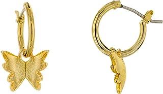 14K Gold or Rhodium Plated Heart Charm Huggie Hoop Earrings - Dangle Heart Drop Earrings - Small Sleeper Hoops