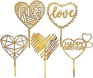 Daimay Lot de 25 décorations de gâteau d'anniversaire en acrylique double face en forme de cœur doré pour cupcakes de mari...