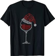 Glass of Red Wine Santa Hat Christmas For Men Women Family T-Shirt