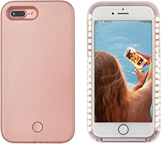 LONHEO iPhone 8 Plus Led Case iPhone 8 Plus Illuminated Cell Phone Case Great for a Bright Selfie and Facetime Light Up Case Cover for iPhone 7 Plus 5.5'' - Rose Gold
