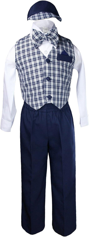 Unotux Boy Large-scale sale Formal Wedding Navy Blue Checks Large discharge sale Vest Suit Bow Gingham