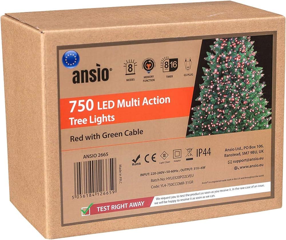 Ansio luci natalizie per interni e esterno 750 led 8 modalità con memoria e funzione timer ANSIO 2665