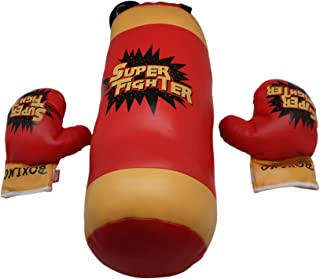Explosion Punching Bag for Kids + Boxing Gloves, Pretend Play for Boys | Toy Set for Children, Soft Padded Set for Youth, Equipment Training Kit | Learn Self Defense, Build Confidence & Discipline
