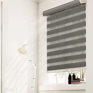 Chicology Free-Stop Cordless Zebra Roller Shades / Combi Blind Curtain Drape, Dual Layer, Sheer or Privacy - Striped Granite, 36
