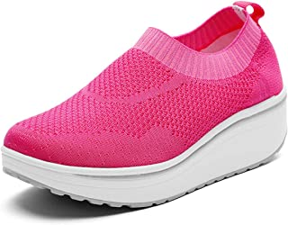 DADAWEN Women's Slip On Breathable Walking Shoes Comfort Fitness Wedge Platform Sneakers (Size:US5-US12)