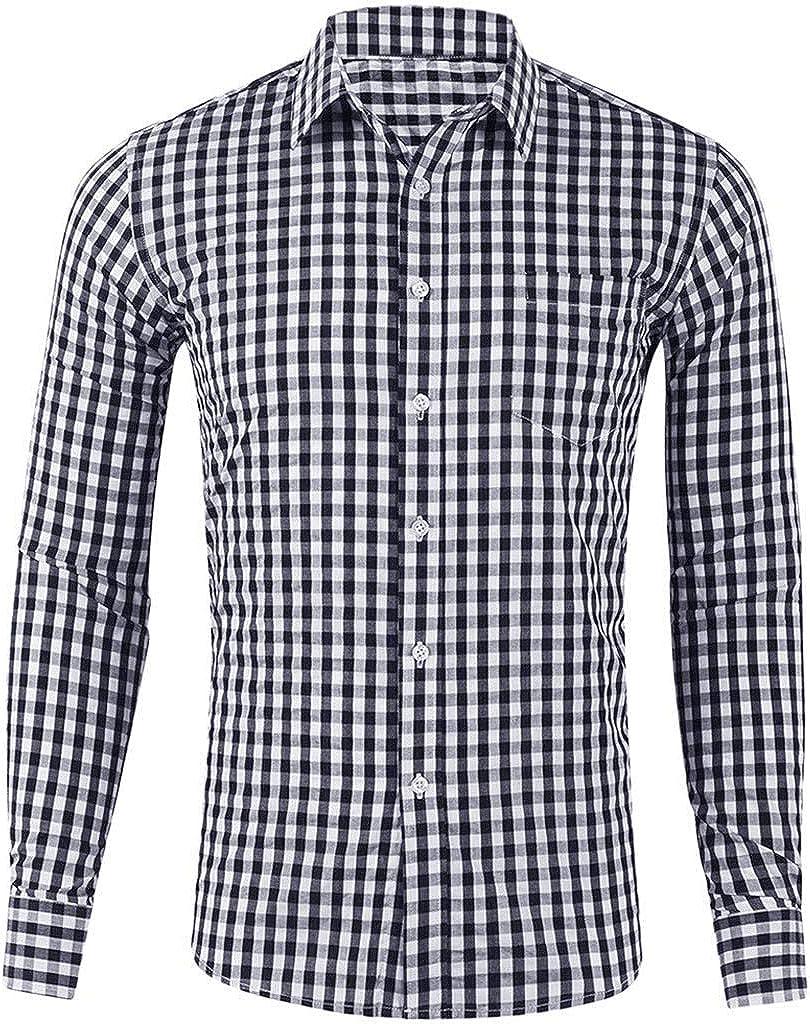 YAYUMI Men's Plaid Shirt Printed Pocket Long Sleeve Fashion Casual Top Button Lapel Cardigan Black