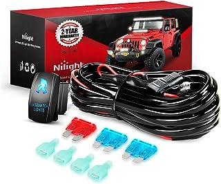 Nilight NI -WA 07 LED Light Bar Wiring Harness Kit SASQUATCH LIGHTS 12V 5Pin Rocker Switch Laser On off Waterproof Switch Power Relay Blade Fuse-2 Lead,2 Years Warranty