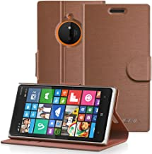 Nokia Lumia 830 Wallet Case - VENA [vSuit] Slim Fit Leather Case with Stand and Card Slots for Nokia Lumia 830 (Brown)