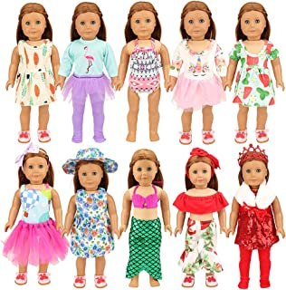 BARWA 24PCS American Doll Girl Doll Clothes and Accessories for 18 inch Doll - 10 Sets Doll Clothing, Mermaid, Princess, Holiday Casual Outfits