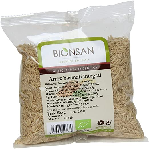 Bionsan Arroz Basmati Integral Ecológico - 6 Bolsas de 500 g ...