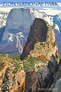 Zion National Park, Utah - Angels Landing (16x24 Giclee Gallery Print, Wall Decor Travel Poster)