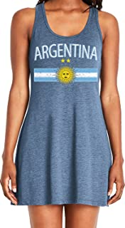 Amdesco Ladies Argentina Flag with Argentine Sun Crest Casual Racerback Tank Dress