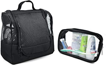 The Fine Living Company USA - Shower Caddy Case Organizer Tote to Hang in The Shower - Jet Black - Free Toiletries Case - Portable and Ideal for Dorm, Camp, Travelling, Gym