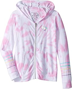 Tie-Dye Heart Cozy Knit Long Sleeve Zip-Up Hoodie (Little Kids/Big Kids)