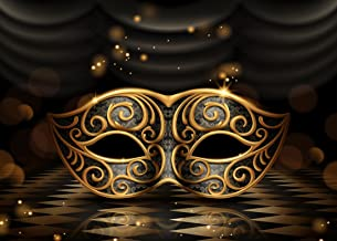SJOLOON 8X6FT Masks Masquerade Photography Backdrop Gold and Black Birthday Party Mardi Gras Decorations Banner Vinyl Photo Background Studio 11080