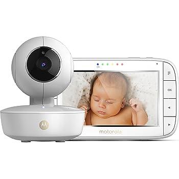 Motorola MBP 50 Video-Babyphone mit Schwenk-, Neige-und Zoomfunktion, 5,0 Zoll Farbdisplay, Nachtsicht, 2-Wege-Audio  und Temperatursensor, 300m Reichweite