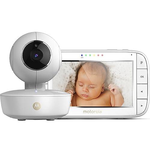 """Motorola MBP 50 - Babyphone vidéo avec grand écran 5.0"""", éco mode, vision nocturne et capteur de la température ambiante, couleur blanc"""
