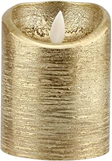 Flame-Less Candles, Candles Holders Tea Light Swinging Flame Electric Candle, Gold Swinging Flame for Bars Parties(S(7.5x1...