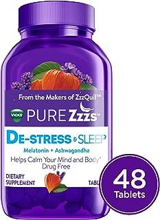 Vicks PURE Zzzs De-Stress & Sleep Melatonin Sleep Aid tablets with Ashwagandha, Chamomile, Lavender, & Valerian Root, 1mg per tablet, 48 ct