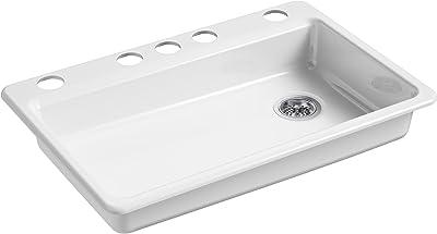 """KOHLER K-8689-5U-0 Riverby Kitchen Sink, 33"""" x 22"""" x 5-7/8"""", White"""