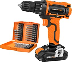 EnerTwist 20V Max Cordless Drill, 3/8 Inch Power Drill Set with Lithium Ion Battery and..