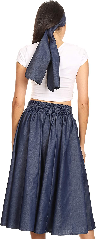 Dark Chambray w Black Accent 34 Circle Skirt Apron