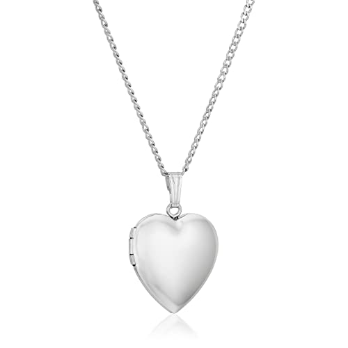 Sterling Silver Polished Heart Locket Pendant Necklace