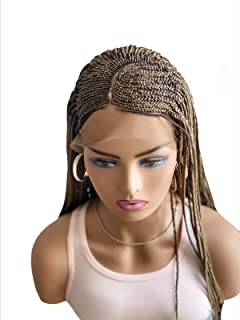 JBG SERVICES Authentic Braided Wigs - C-CUT Lola Cornrow Braid For African American Women - 13 X 4 Lace Frontal Closure For Natural-Look Hairline - 2 Hair Pins Included 18in - Color 27 Light Auburn
