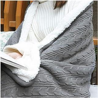 noyydh رميات محكم بطانية، بطانية مريح لينة رقيق من ستوكات على الوجهين لسرير أريكة الأريكة، رمادي