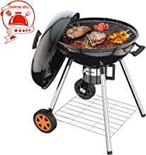TACKLIFE Charcoal Grill, 22.5 Inch Barbecue Grill, 0.8 mm Steel, 170MM Wheels, 32mm Legs, Rich Screws, Accurate Temperature, Carbon Grid, Ash Cube, Air Volume Control -HXCG04A
