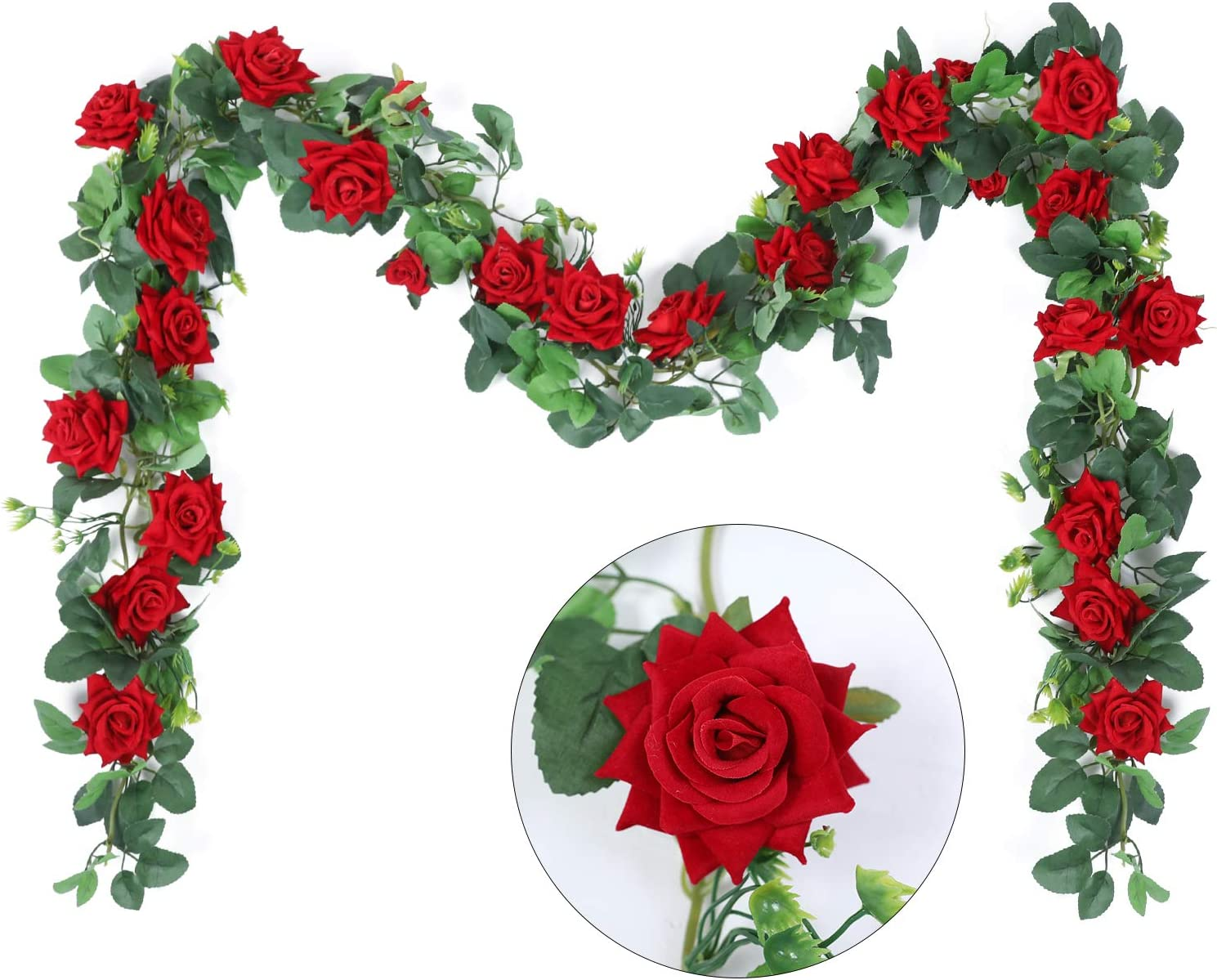Hobyhoon Artificial Rose Vines Flowers Garland 5.6ft Silk Velvet Rose Vines Fake Hanging Rose Ivy Plant for Wedding Party Home Wall Garden Decorations (Red-3pcs)