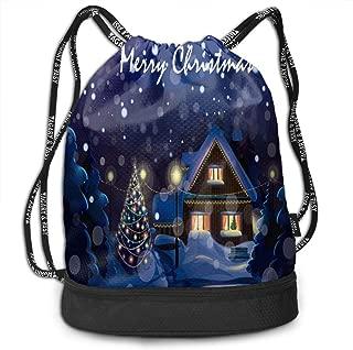 Bundle Drawstring Christmas Night Art Painting Travel Durable Large Space Gym Sack Inspiring Drawstring Bag