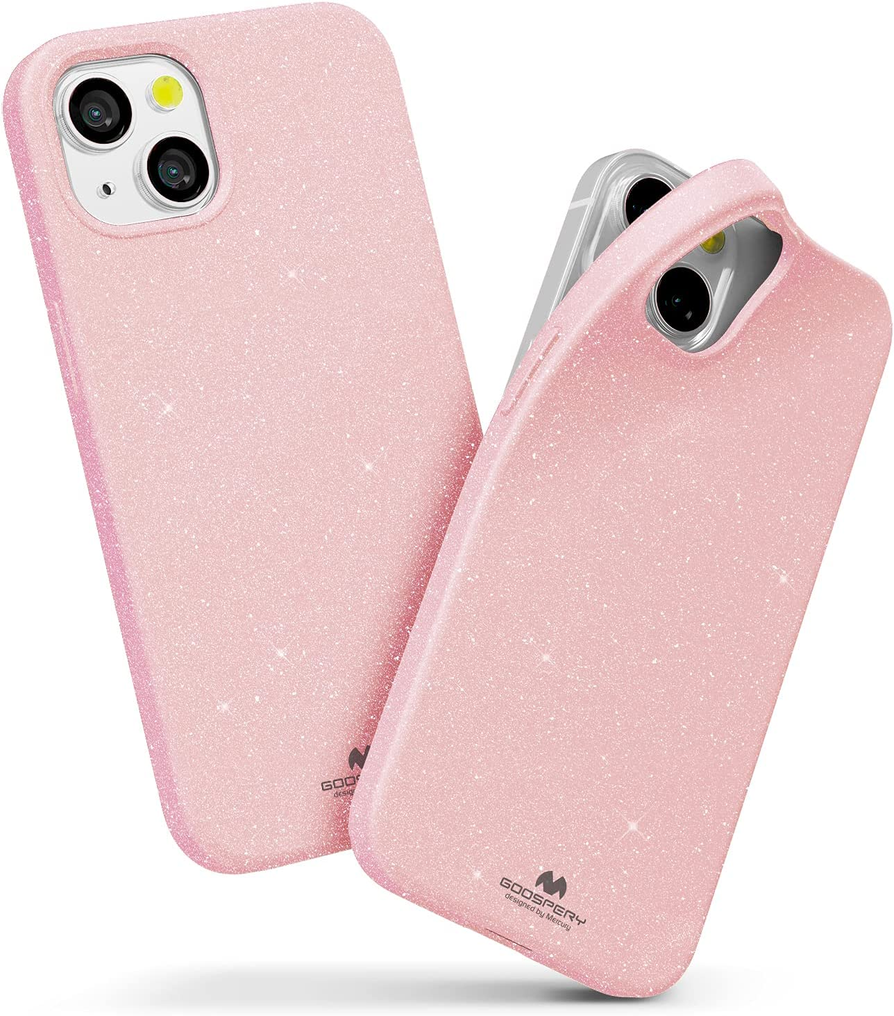 Goospery Pearl Jelly Compatible with iPhone 13 Mini Case, Vivid Color with Light Shimmer Jewel Effects Glitter Sparkles Shine Look Slim Thin TPU Rubber Back Cover (Pink) IP13M-JEL-PNK