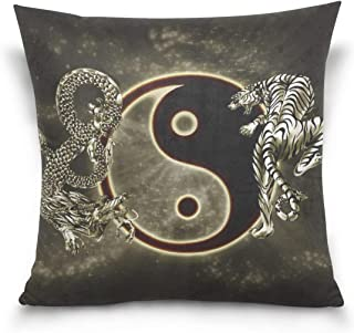 WNSNDFmmmd Chinese Dragon Tiger Tai Bagua Yin Yang Black and White Pillowcase for Living Room Sofa Car Decorative Cotton Linen Throw Pillow Case Cushion Cover Square 20 X 20 Inches