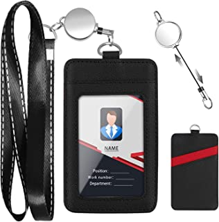 Lanyard with ID Holder Retractable, Leather Card Holder with Neck Lanyard and metel Retractable Badge Reel with 32 inches Retractable Cord for Cruise Travel, Daily Work(Black+Silver+red)