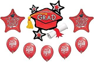 2019 Graduation Grad Cap Hat Diploma 8 Piece Mylar & Latex Party Balloons Set (Red)