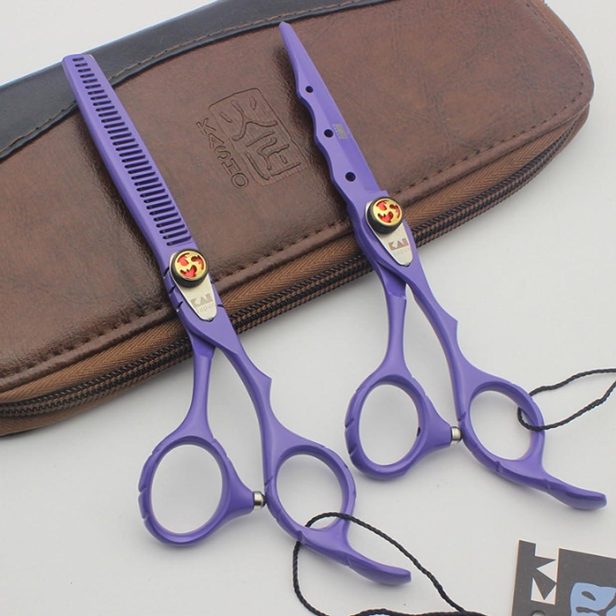 音声学二十アボートペット用シザー カットハサミ トリミング シザー グルーミングシア 6.0インチ プロフェッショナル セニング ハサミ 歯付きブレード ストレートハサミ (Color : B2-Purple, Style : Thinning Scissor)