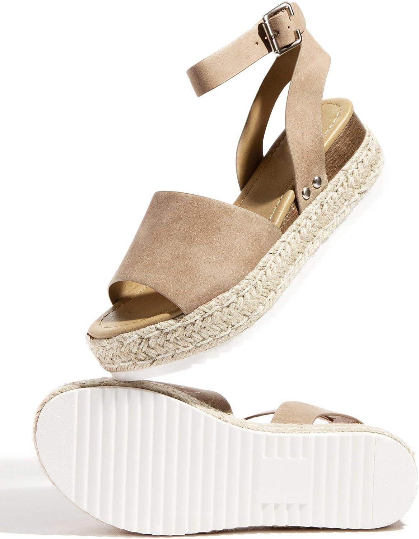Womens Casual Espadrilles Sandal Trim Rubber Sole Flatform Studded Wedge Buckle Open Toe Ankle Strap Sandals