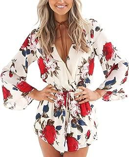 Women's Floral Print Long Sleeves Short Romper Playsuit Jumpsuit