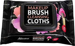 Nileeva Makeup Brush Cleansing Wipes/Cloths, Quick & Convenient Leaves Your Brush Clean & Fluffy (1 Pack = 25 Wipes)