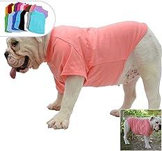 lovelonglong Bulldog Ropa Perro Ropa Blank Camiseta Camisetas para French Bulldog English Bulldog American Pit Bull Pugs 100% Algodón Cuidado de la Piel Lotuspink B-S