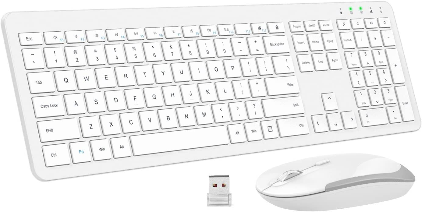 MoKo Slim Keyboard and Mouse Set, Ultra-Thin 2.4G Light Full-Size Wireless Keyboard & Mouse Combo with Nano USB Receiver for Android, Windows, Laptop, Desktop, PC, Notebook, Computer - White