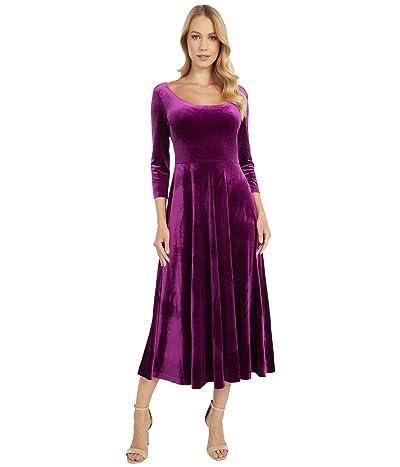 KAMALIKULTURE by Norma Kamali Long Sleeve Reversible Scoop Neck Flared Dress (Raspberry) Women